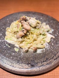 相生産カキとキノコの須磨海苔クリーム タリアテッレ柚子の香り